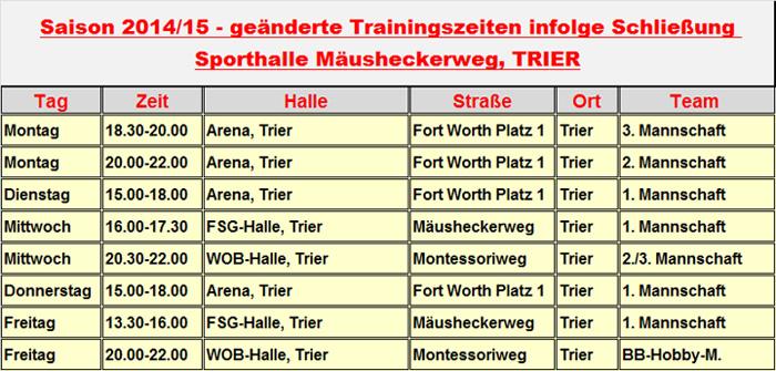 14-15 - Trainingszeiten-Trier-Dolphins