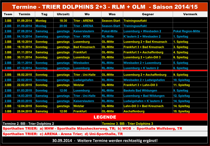 14-15 - Termine-2.BB-u.-3.BB-Trier-Dolphins